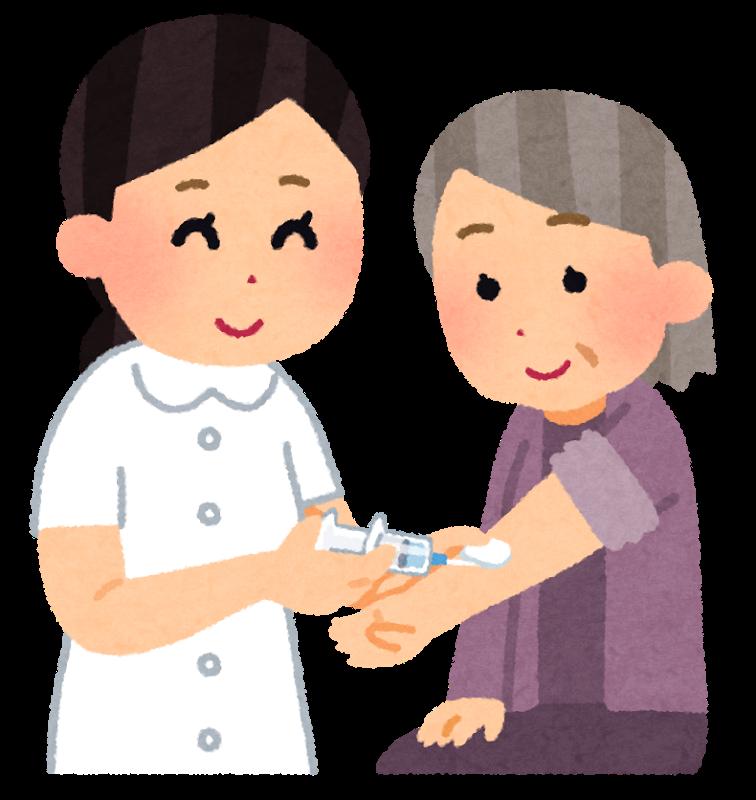 予防注射を打つ高齢者