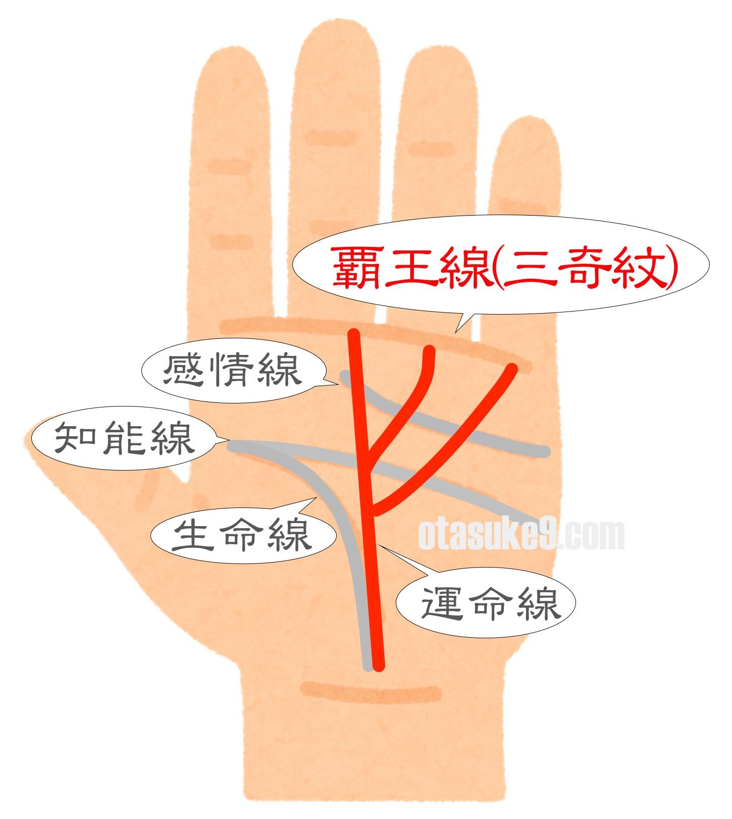お金持ちの手相 覇王線(三奇紋)
