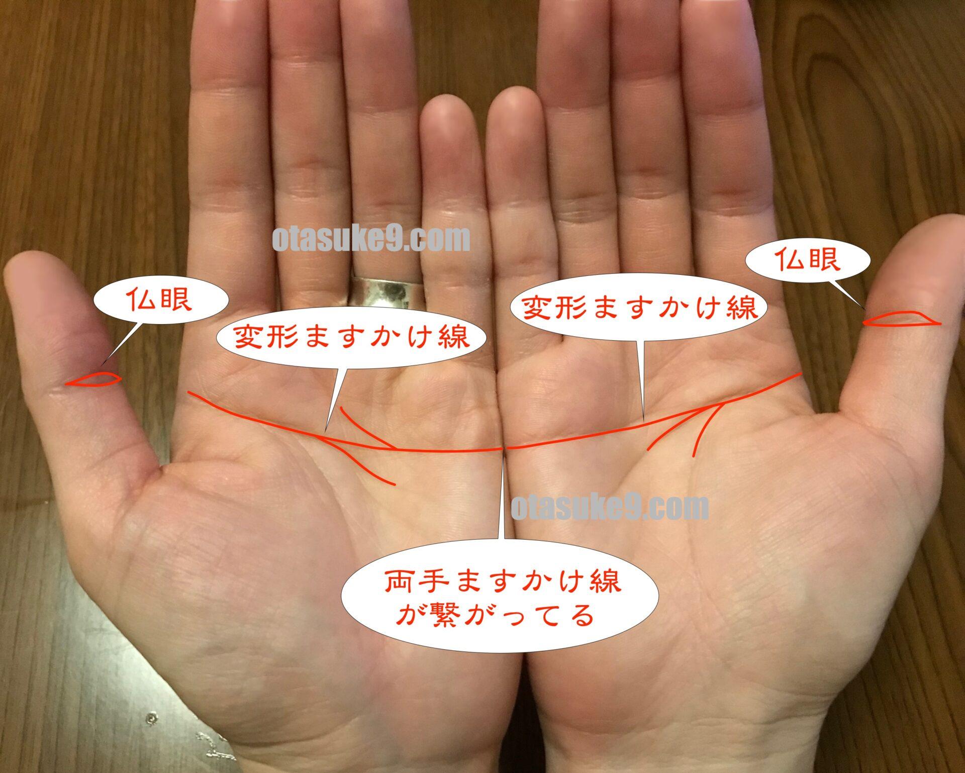 両手ますかけ線が繋がってる,仏眼