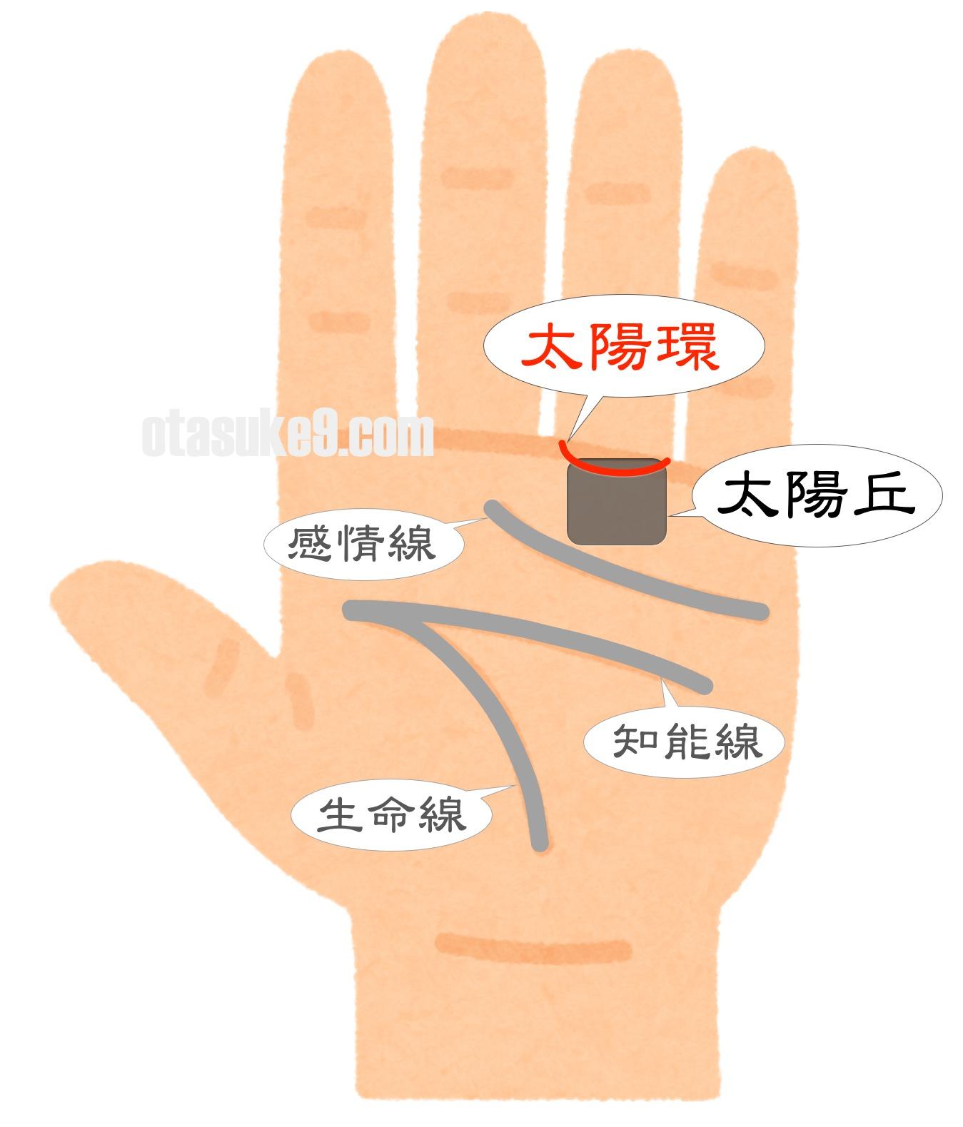 太陽環,薬指の下の線