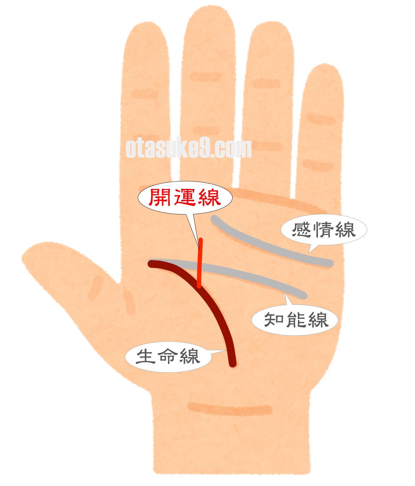 中指に向かう開運線