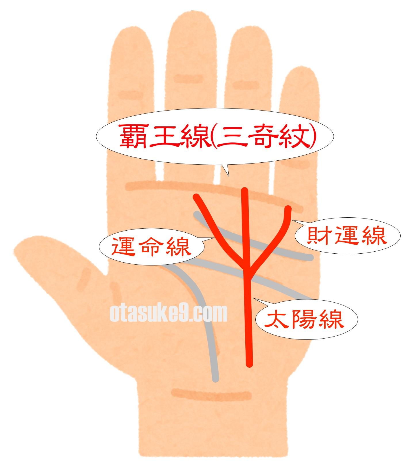 太陽線を軸にした覇王線(三奇紋)
